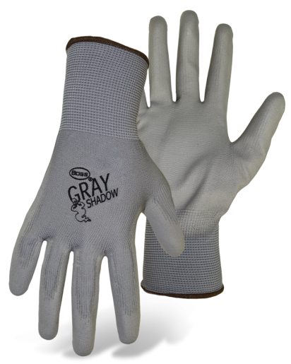 Boss 1PU3500 Gray Shadow Palm Dip Non-Slip Assembly Glove - AMMC