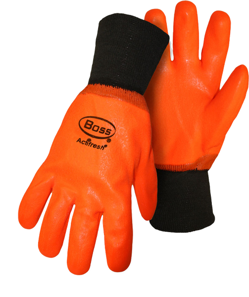 Boss 1SP3500 Hot Hands Lined Rough Grip High-Vis Orange PVC - AMMC