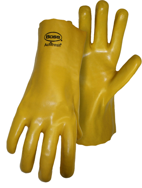 "Boss 1SP8812 Yellow 12"" PVC Smooth Grip Jersey Lined with Actifresh - AMMC"