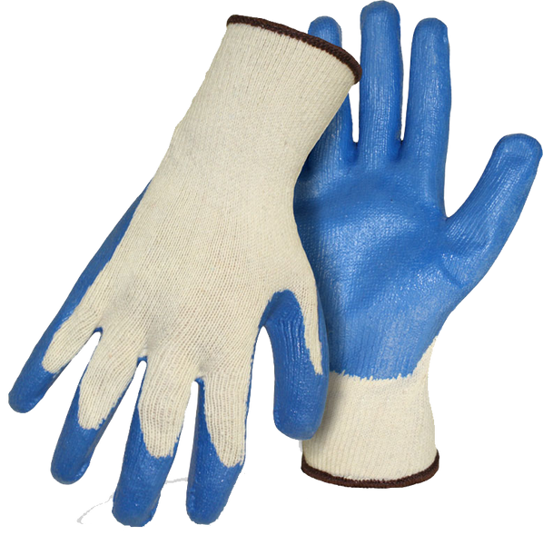 Boss 1SR8429 Knit Blue Latex Textured Grip String Knit Gloves - AMMC