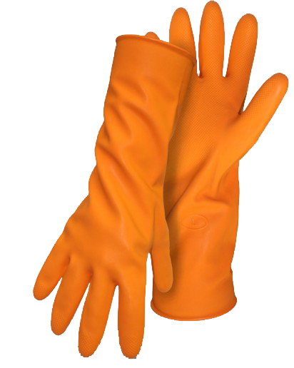 Boss 1UR0708 Latex 28MIL Orange Flock Lined Diamond Grip Chemical Gloves - AMMC