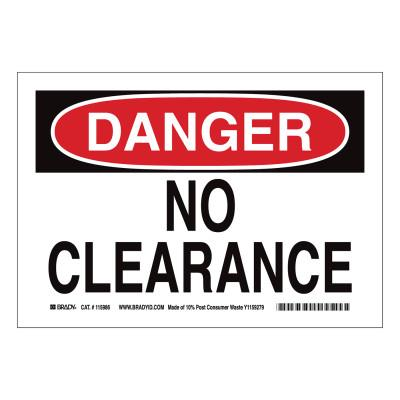 BRADY DANGER No Clearance Signs, Red on White, 116151