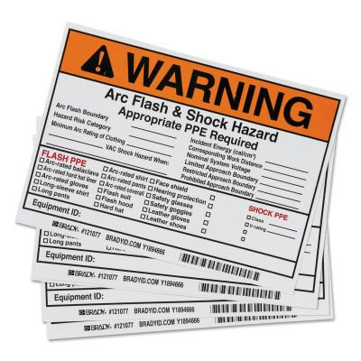 BRADY Arc Flash Labels, 7 in x 5 in, Warning - Arc Flash & Shock Hazard, Orange, 122977