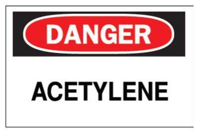 Brady Chemical & Hazardous Material Signs, Danger, Acetylene, White/Red/Black, 22292