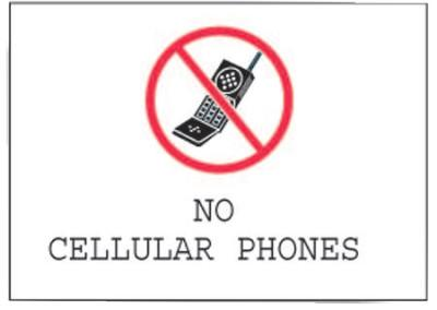 Brady Phone Signs, No Cellular Phones, White/Red/Black, 95503