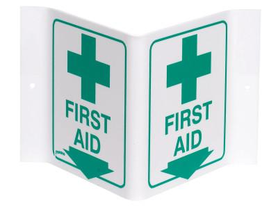 "Brady Standard ""V"" Signs, FIRST AID (W/PICTO), Green on White, V1FA03A"