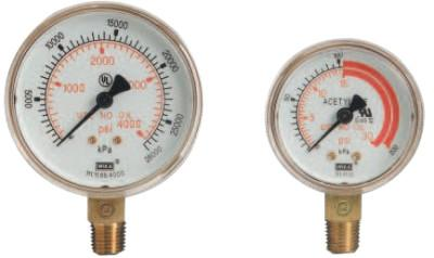 Western Enterprises 2 1/2 in Regulator Gauge, G-25-400W, 400 PSIG, 1/4 in (NPT), G-25-400W