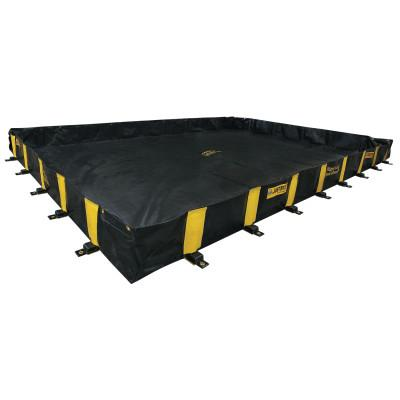 Justrite Rigid-Lock QuickBerm Spill Containment Berms, Black/Yellow, 1120 gal, 15' x 10', 28502