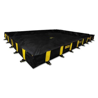 Justrite Rigid-Lock QuickBerm Spill Containment Berms, Black, 2990 gal, 20 ft x 20 ft, 28532