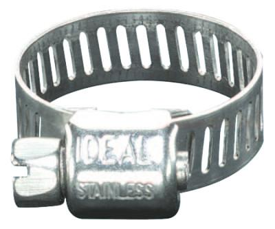 "Ideal® 62P Series Small Diameter Clamp, 5/16"" Hose ID, 1/4-5/8"" Dia, Stnls Stl 201/301, 6204"