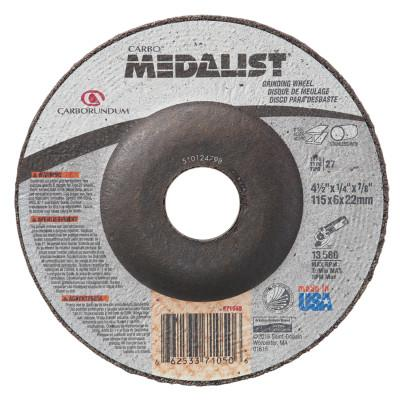 Carborundum Medalist Depressed Center Wheel, 4 1/2 Dia, 1/2 Thick, 5/8 in-11 Arbor, 20 Grit, 66253371634