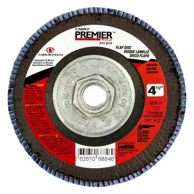"Carborundum Premier Red Zirconia Alumina Type 27 Fat Boy Flap Discs,4 1/2"",40 Grit,5/8 Arbor, 66261068838"