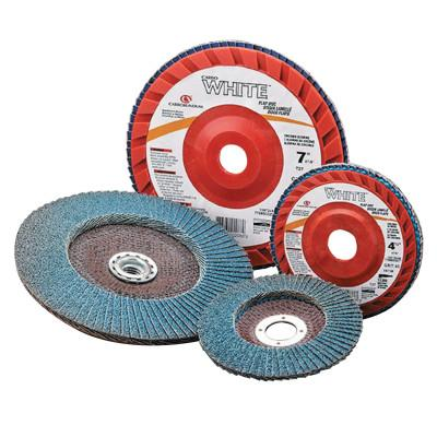 Carborundum CARBO WHITE Fiberglass Back Res Cloth Flap Discs, 7 X 5/8  - 11, 80 Grit, 77696090113