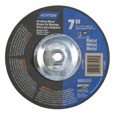Norton Depressed Center Metal/Masonry Wheel, 7 in Dia, 1/4 in Thick, 5/8 Arbor, Alum., 7660775940