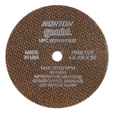 Norton Reinforced Cut-Off Wheel, Type 1, 4 in Dia, .035 in Thick, 3/8 Arbor, 60 Grit, 66243510630
