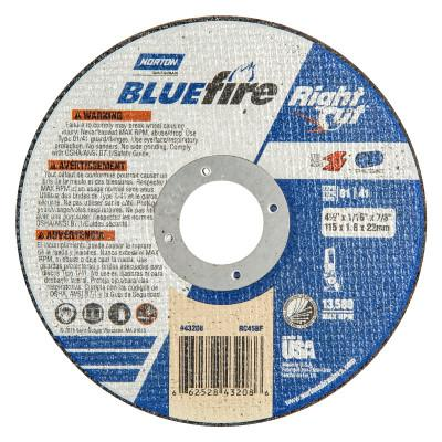 Norton Type 01 BlueFire Right Cut Cut-Off Wheel, 4 1/2 in Dia, 1/16 Thick, Alum. Oxide, 66252843208