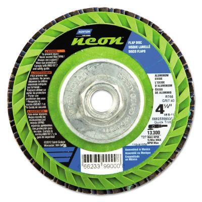 Norton Type 27 Flat Flap Discs, 4 1/2 in Dia, 60 Grit, 5/8 in Arbor, 13,300 rpm, 66623399001