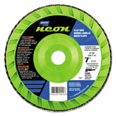 Norton Type 27 Flat Flap Discs, 7 in Dia, 60 Grit, 7/8 in Arbor, 8,600 rpm, 66623399021