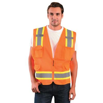 OccuNomix Class 2 Surveyor Style Mesh Vests, X-Large, Orange, ECO-ATRNSM-OXL