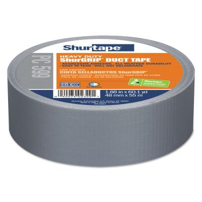 Shurtape® PC 599 ShurGrip  Heavy-Duty Duct Tapes, 72 mm x 55 M x 9 mil, Silver, 104187