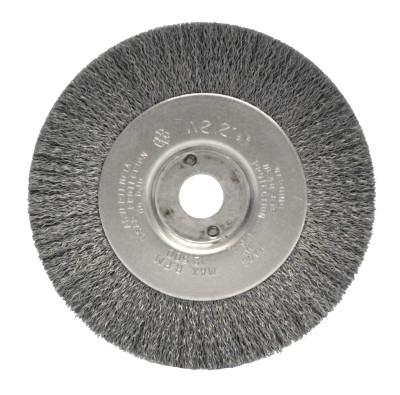 Weiler® Narrow Face Crimped Wire Wheel, 4 in D x 1/2 W, .006 Stainless Steel, 6,000 rpm, 00154