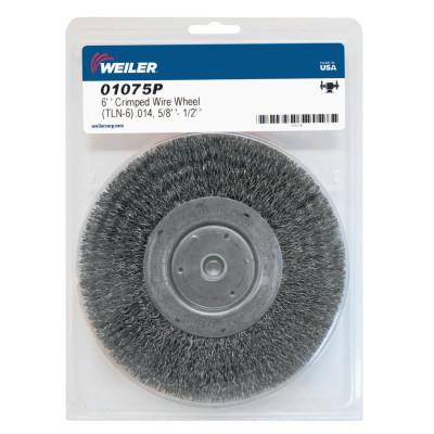 Weiler® Narrow Face Crimped Wire Wheel, 6 in D x 3/4 W, .014 in Steel Wire, 6,000 rpm, 01075P
