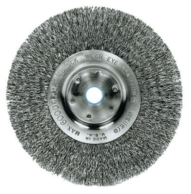 Weiler® Narrow Face Crimped Wire Wheel, 6 in D x 3/4 in W, .014 in Steel Wire, 6,000 rpm, 1075