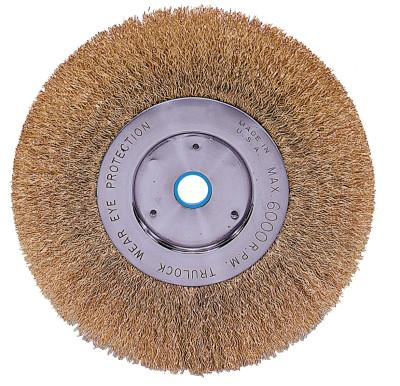 Weiler® Narrow Face Crimped Wire Wheel, 6 in D x 1/2 in W, .0118 Brass Wire, 6,000 rpm, 01475