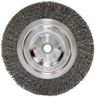 Weiler® Medium-Face Crimped Wire Wheel, 6 in D x 5/8 in W, .014 in Steel Wire, 6,000 rpm, 2325