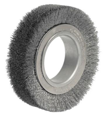 "Weiler® Wide-Face Crimped Wire Wheel, 4 1/2"" Dia. x 1 1/4"" W, 0.006 in Steel, 6,000 rpm, 3000"