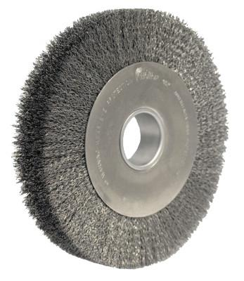Weiler® Wide-Face Crimped Wire Wheel, 10 in Dia., 0.020 in Steel Fill, 4,000 rpm, 3210