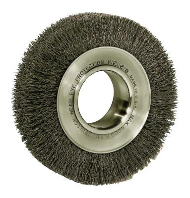 "Weiler® Wide-Face Crimped Wire Wheel, 6""Dia. x 1 1/4""W, 0.006 Stainless Steel, 6,000 rpm, 03480"