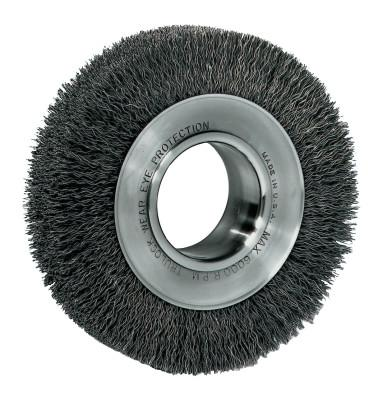 "Weiler® Wide-Face Crimped Wire Wheel, 6""Dia. x 1 1/4""W, 0.014 Stainless Steel, 6,000 rpm, 3520"