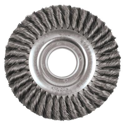 Weiler® Wide Face Standard Twist Knot Wire Wheel, 8 in Dia. x 1 in, 0.016 in, 6,000 rpm, 09430