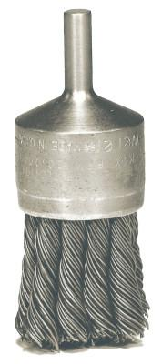 "Weiler® Hollow-End Knot Wire End Brush, Steel, 22,000 rpm, 1 1/8"" x 0.014"", 10027"