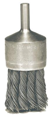 "Weiler® Hollow-End Knot Wire End Brush, Stainless Steel, 22,000 rpm, 1 1/8"" x 0.014"", 10031"