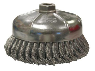 Weiler® Single Row Heavy-Duty Knot Cup Brush, 6 in Dia., 5/8-11 UNC, 1 3/8 x .014 Steel, 12356