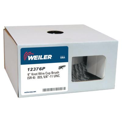 Weiler® Single Row Heavy-Duty Knot Cup Brush, 6 in Dia., 5/8-11, .023 Steel, Display Pk, 12376P