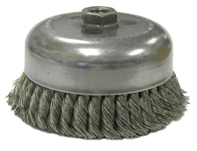 Weiler® Single Row Heavy-Duty Knot Cup Brush, 5 in Dia., 5/8-11, .023 Steel, Display Pk, 12276P