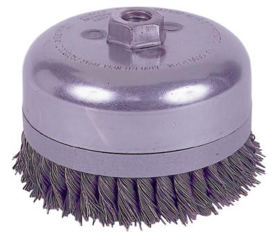 Weiler® Extra Heavy Duty Knot Wire Cup Brush, 4 in Dia., 5/8-11 UNC Arbor, .023 Wire, 12796