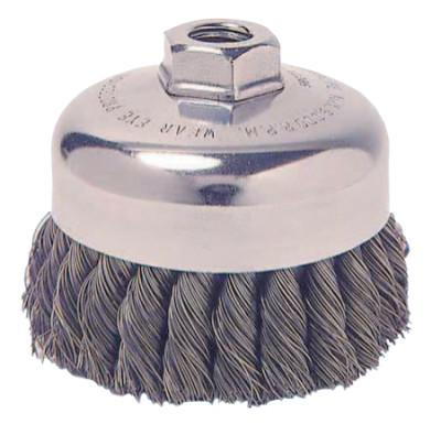Weiler® Single Row Heavy-Duty Knot Cup Brush, 6 in Dia., 5/8-11, 1 5/8 x .023 Stainless, 12886