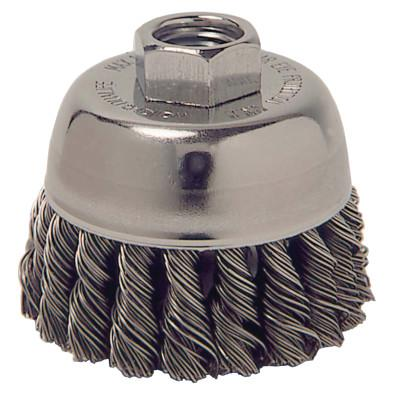Weiler® Single Row Heavy-Duty Knot Wire Cup Brush, 2 3/4 in Dia., 3/8-24 UNF, .014 Steel, 13021