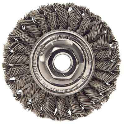 Weiler® Standard Twist Knot Wire Wheel, 4 in D x 1/2 in W, .014 Steel, 3/8 in-24 UNF Nut, 13103