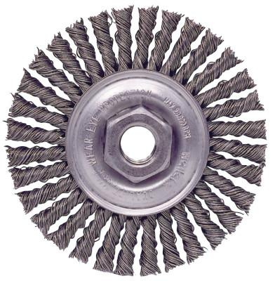 "Weiler® Roughneck® Stringer Bead Wheel, 4 in D x 3/16 W, .02 in Wire, 1/2""-13 UNC Nut, 13130"