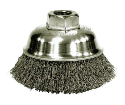 Weiler® Crimped Wire Cup Brush, 3 1/2 in Dia., 5/8-11 UNC Arbor, .014 in Stainless Steel, 13188