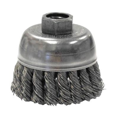 Weiler® Single Row Heavy-Duty Knot Wire Cup Brush, 2 3/4 in Dia., M10 x 1.25, .02 Steel, 13281