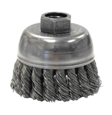 Weiler® Single Row Heavy-Duty Knot Wire Cup Brush, 2 3/4 in Dia., M14 x 2, .02 Steel, 13283