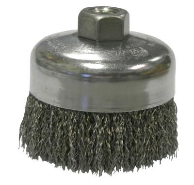 Weiler® Crimped Wire Cup Brush, 4 in Dia., 5/8-11 UNC Arbor, .014 in Steel Wire, 14026