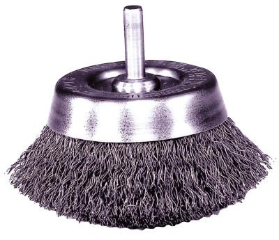 Weiler® Stem-Mounted Crimped Wire Cup Brush, 1 3/4 in Dia., .006 in Steel, 14300
