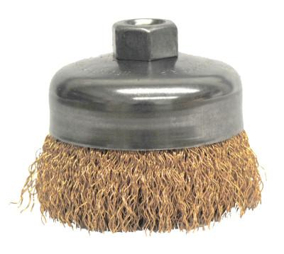 Weiler® Crimped Wire Cup Brush, 4 in Dia., 5/8-11 UNC Arbor, Bronze Wire, 14616